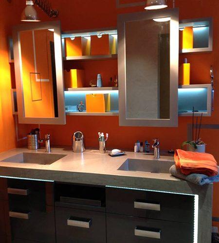 SDB Orange Miroir