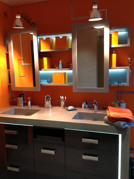 SDB Orange Miroir