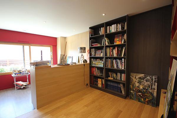 Bibliotheque bois coté